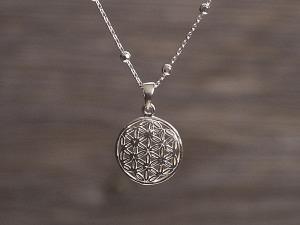 Anhänger Silber Blume des Lebens bauchig