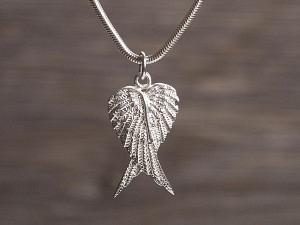 Anhänger Silber doppelter Engelflügel