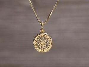 Anhänger vergoldet Mandala Stern
