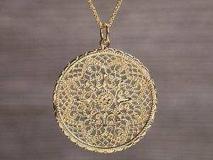 Anhänger vergoldet Ornament filigran