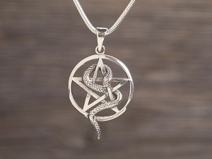 Anhänger Silber Pentagramm & Schlange