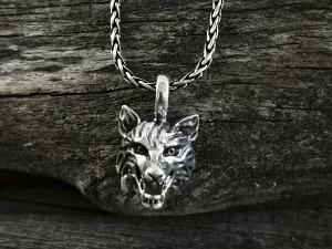 Anhänger Silber Wolfskopf