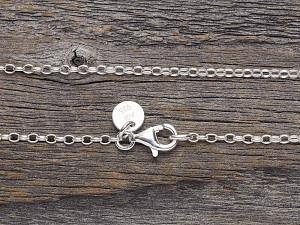 Halskette Silber oval fein lang