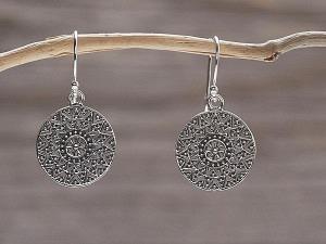 Ohrhänger Silber aztekisches Mandala