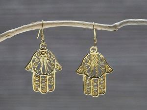 Ohrhänger Silber vergoldet Fatima Hand