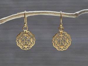 Ohrhänger vergoldet Mandala matt