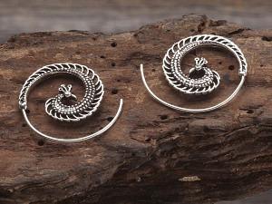 Ohrschmuck Silber Spirale Pfau 30 mm
