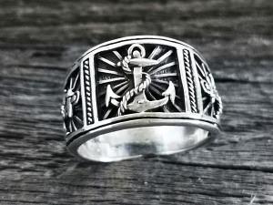 Silber Ring Ankermotiv