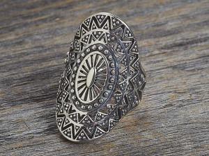 Silber Ring aztekisches Mandala oval