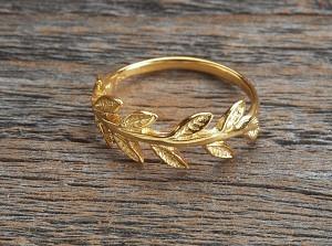 Silber Ring vergoldet Blattranke