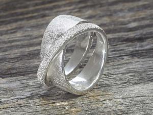 Silber Ring Diamond & Matt Ice Kombi