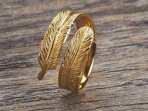 Silber Ring vergoldet Feder