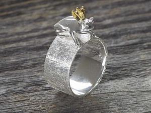 Silber Ring Froschkönig