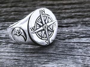 Siegel Silber Ring Kompass