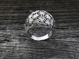Silber Ring Blume des Lebens