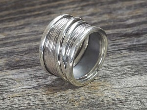 Silber Ring breit oxidiert