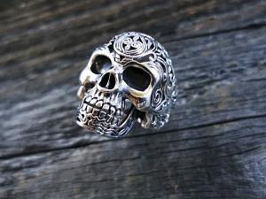 Silber Ring Totenkopf Maori