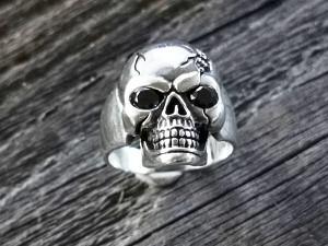 Silber Ring Totenkopf Stein
