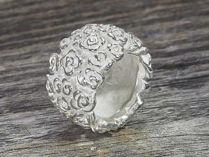 Silber Ring breit Rosenmuster