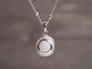 Anhänger Silber Opal rund Pünktchen Fassung