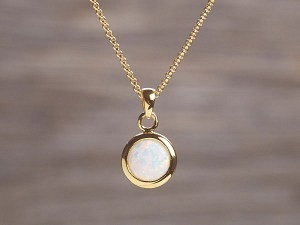 Anhänger vergoldet Opal rund