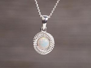 Anhänger Silber Opal rund gedreht