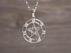 Anhänger Silber Pentagramm mit 7 Zirkonia