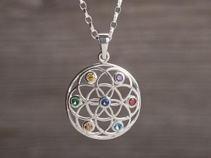 Anhänger Silber Samen des Lebens & Chakra Steinen