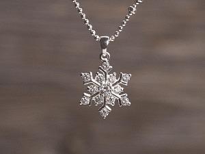 Anhänger Silber Schneeflocke mit Zirkonia