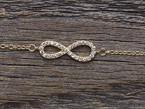 Armkette Silber vergoldet Infinity Zirkonia
