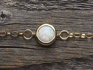 Armkette Silber vergoldet Opal