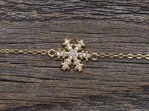 Armkette vergoldet Schneeflocke & Zirkonia