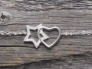 Armkette Silber Stern & Herz & Zirkonia