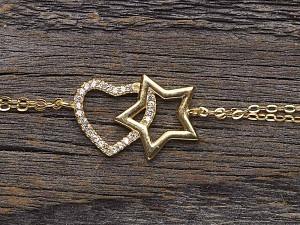 Armband Silber vergoldet Stern & Herz
