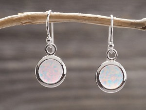 Silber Ohrhänger Opal rund