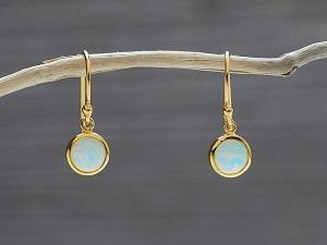 Ohrhänger vergoldet Opal rund fein