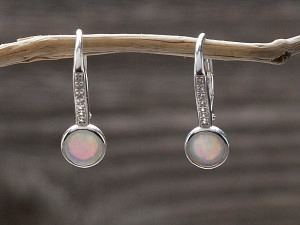 Silber Ohrhänger Opal rund mit Zirkonia