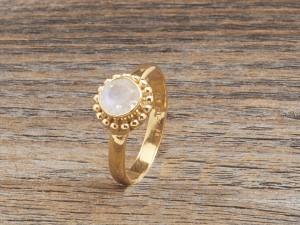 Silber Mondstein Ring vergoldet Blume Design