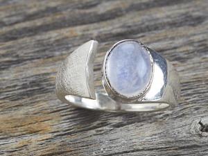 Silber Ring Stein oval offen